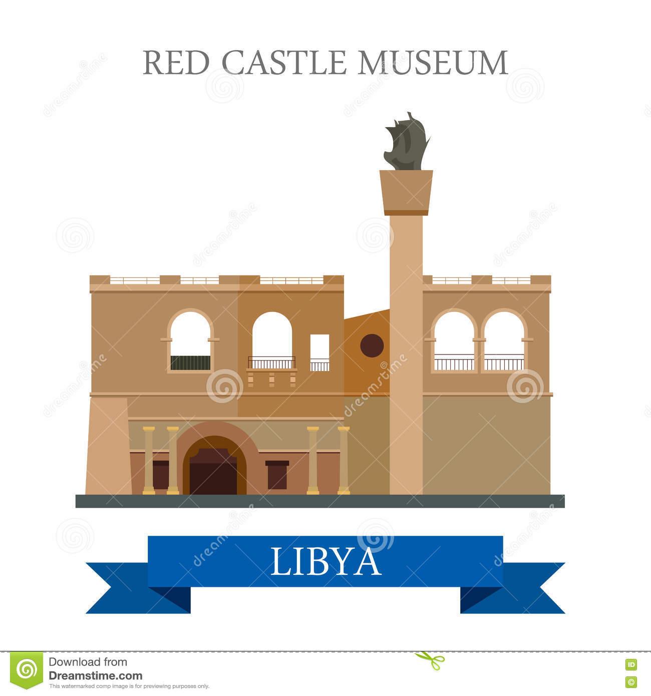 Red Castle Museum In Libya Vector Illustration Stock Vector.