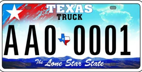 Texas License Plate.