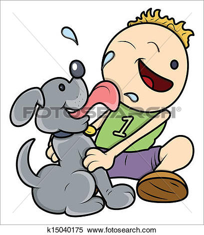 Clip Art of Licking Dog k18970769.