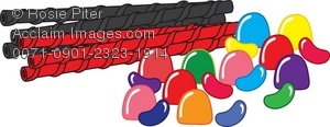 Clip Art Illustration of Licorice, Gumdrops and Jelly Beans.