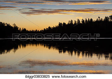 """Stock Image of """"Sunrise at a lake, near Ed, Dalsland, Vastra."""