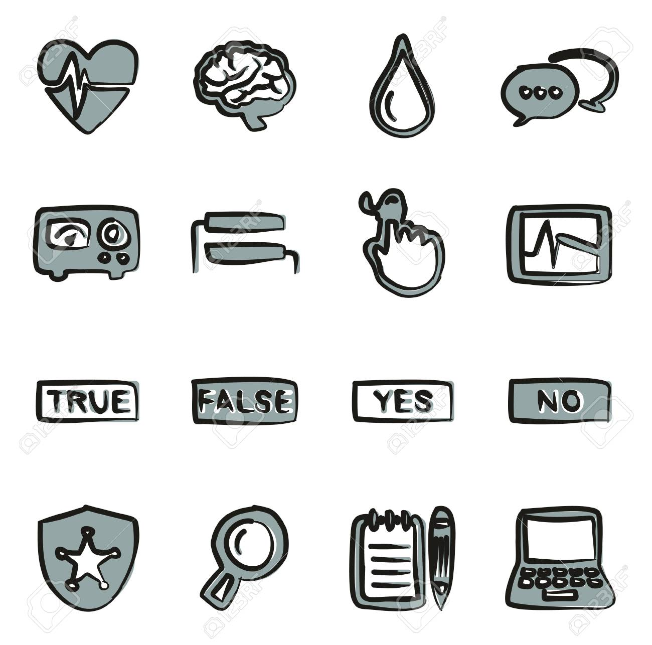 Lie Detector Icons Freehand 2 Color.