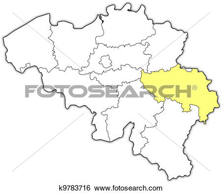 Clip Art of Map of Belgium, Liege highlighted k9783716.