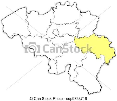 Clip Art Vector of Map of Belgium, Liege highlighted.