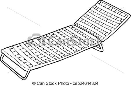 Clip Art Vector of Outline of Man on Deck Chair.