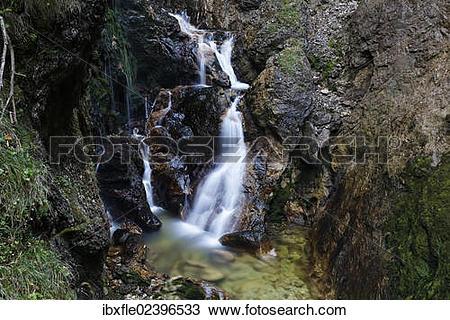 "Stock Photo of ""Waterfall in the Wasserlochklamm gorge near Palfau."