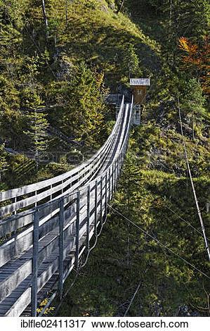 """Picture of """"Suspension bridge across the Salza river."""