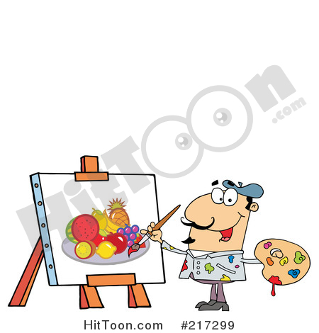 Artist Clipart #217299: Man Painting a Still Life of Fruit on.