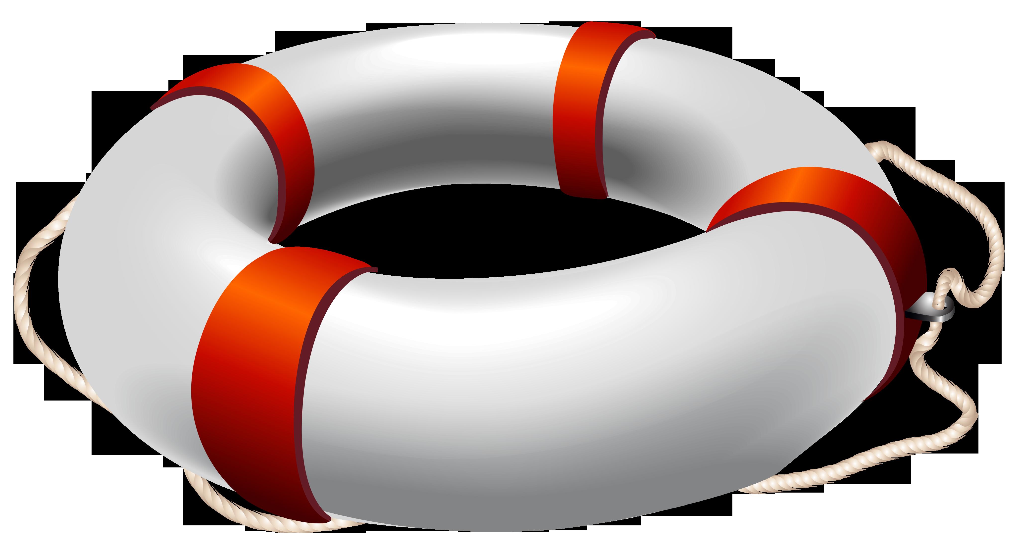 Transparent White Life Belt PNG Clipart.