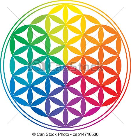 Vectors of Flower Of Life Rainbow Colors.