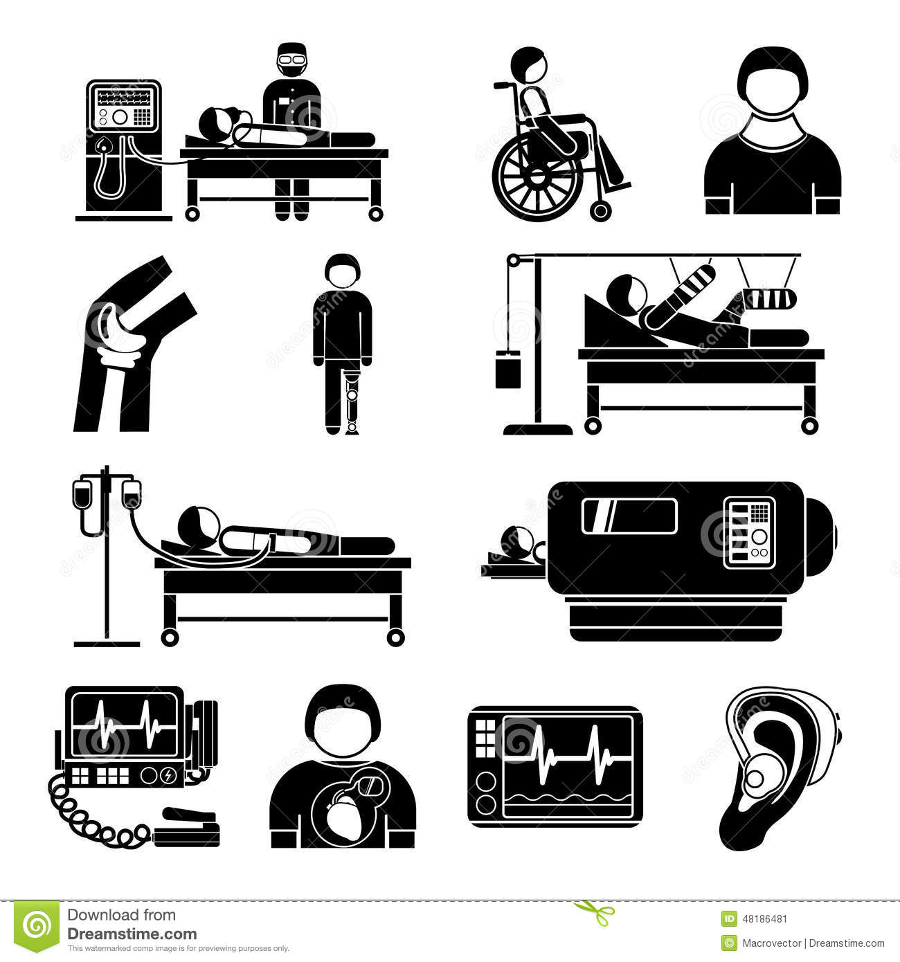 Life Support Equipments Cliparts Icons Stock Vector.