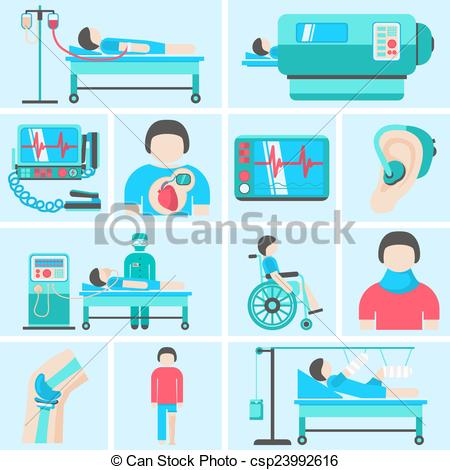 Vector Clip Art of Life support medical equipment icons.