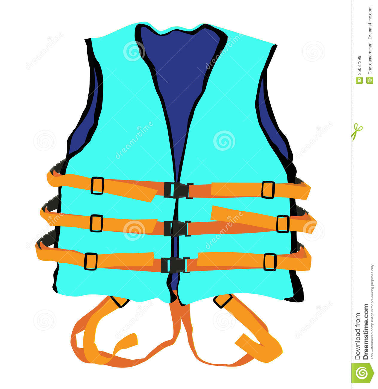 Life Jacket In Water Clipart.