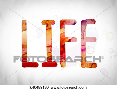 Life Concept Watercolor Word Art Clipart.