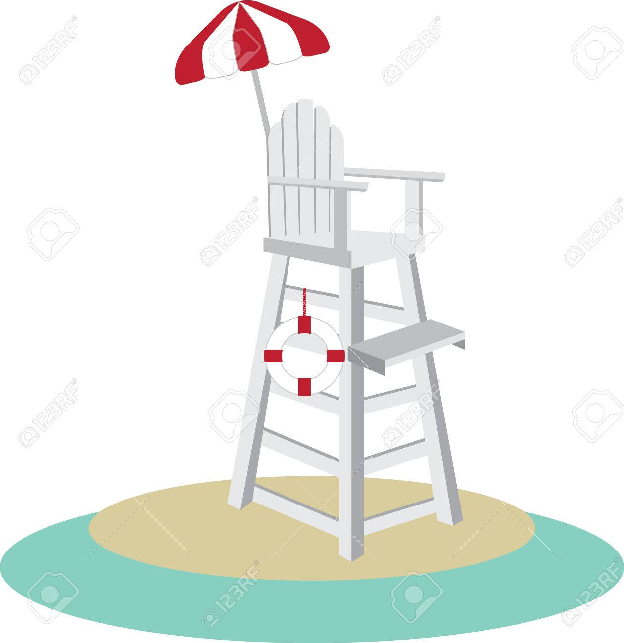 Tall lifeguard chair with a red and white umbrella..