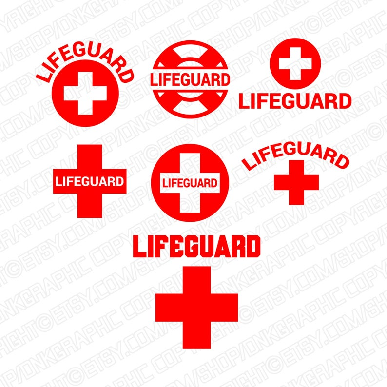 7 Styles LifeGuard Lifesaver Life Guard SVG Red Cross Silhouette Cameo  Cricut Cut File Clipart Png Eps Dxf Vector.