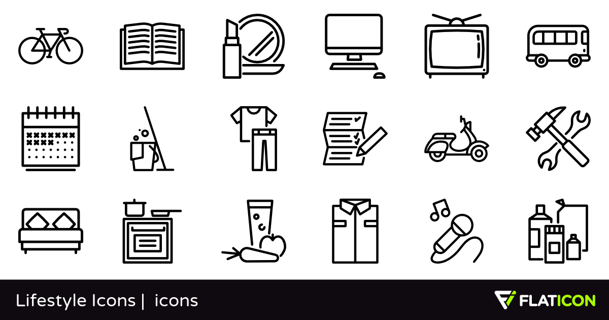 Lifestyle Icons 50 free icons (SVG, EPS, PSD, PNG files).