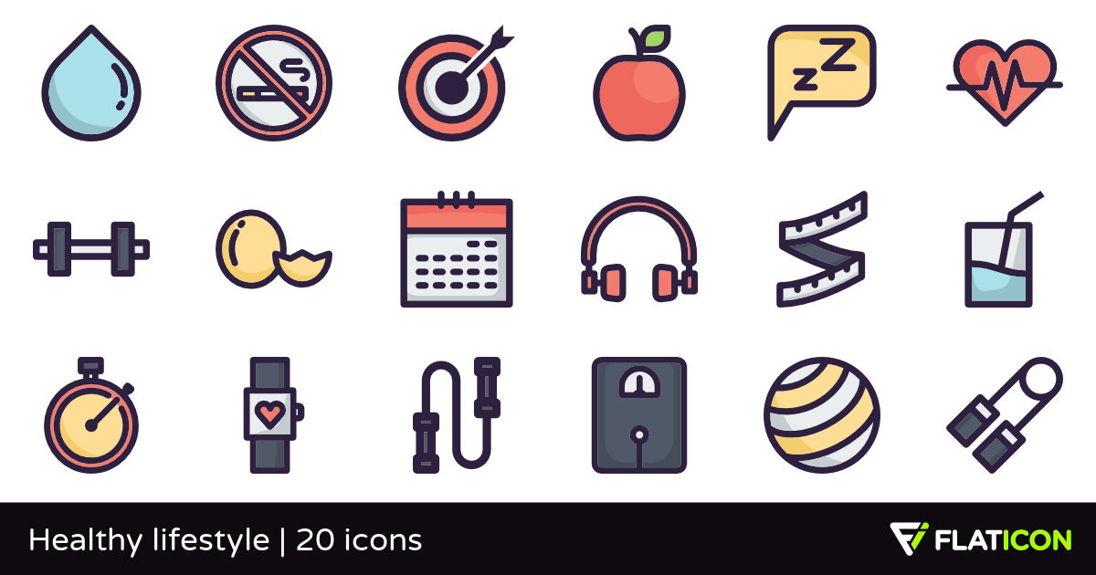 Healthy lifestyle 20 free icons (SVG, EPS, PSD, PNG files).