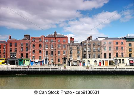 Stock Photography of River Liffey and colorful buildings at summer.