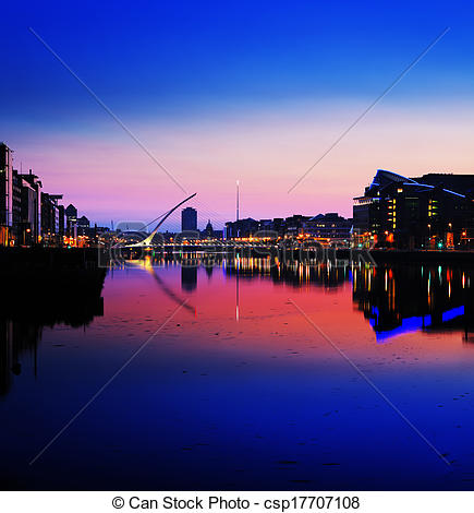Stock Photography of North bank of the river Liffey at Dublin City.