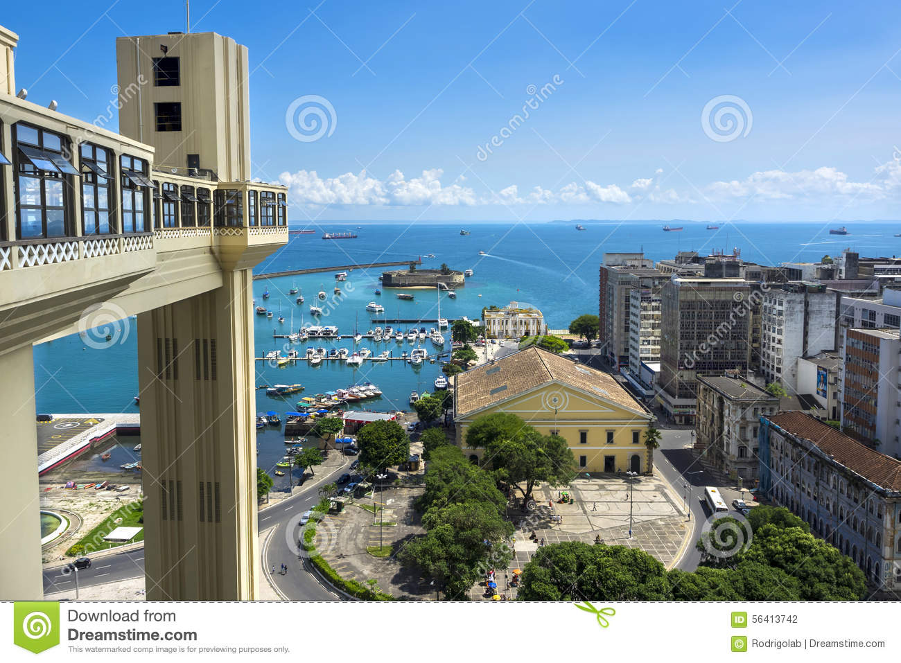 Lacerda Elevator And All Saints Bay In Salvador, Bahia, Brazil.