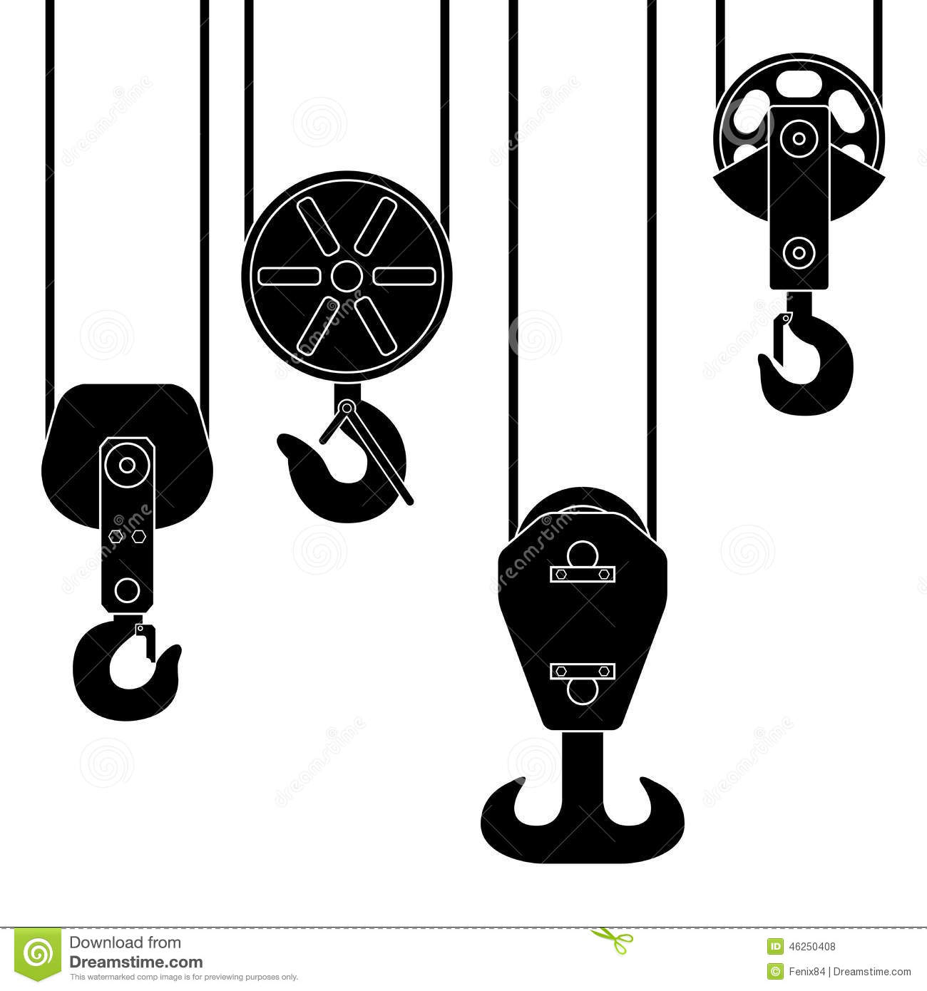 Hook Suspension. A Special Device For Lifting Loads. Stock Vector.