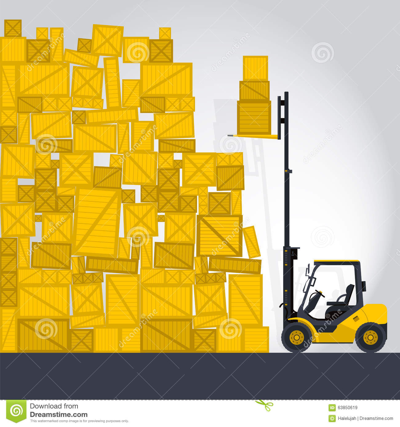 Yellow Fork Lift Loader Works In Storage Stock Vector.