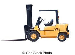 Clipart of Man Driving Fork Lift Truck Isolated on White.