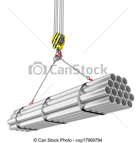 Stock Illustration of Crane hook lifting of steel pipes.