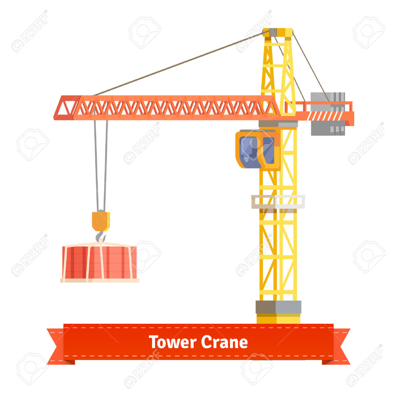 Tower Crane Lifting Building Materials On The Hook. Flat Style.