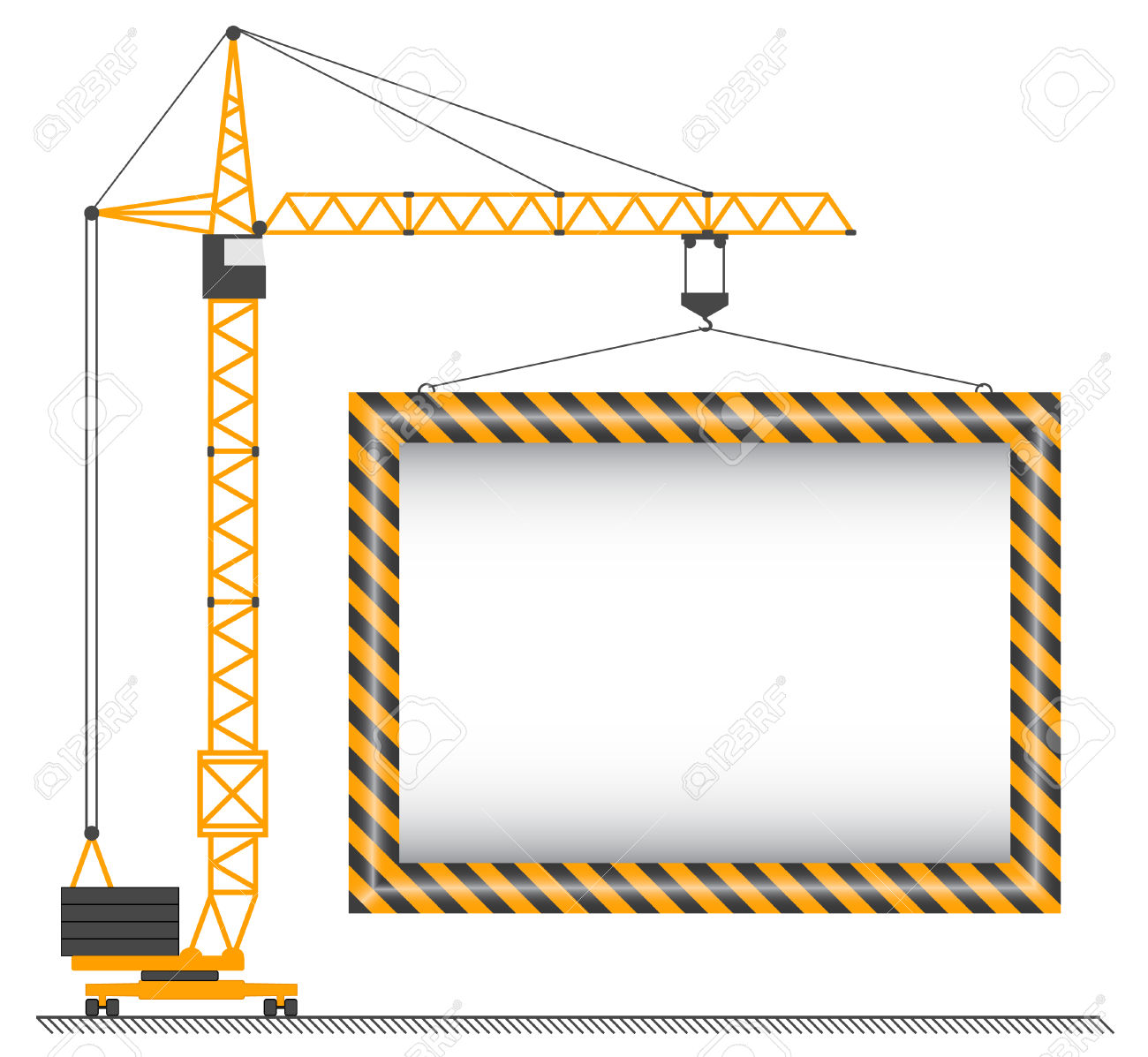 The Vector Crane Lifting Cargo On A White Background Royalty Free.