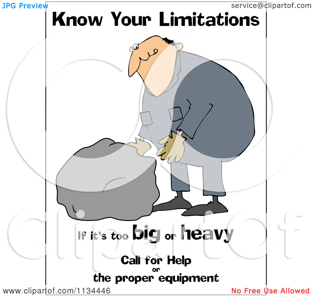 Cartoon Of A Worker Trying To Lift A Heavy Rock With Safety Text.