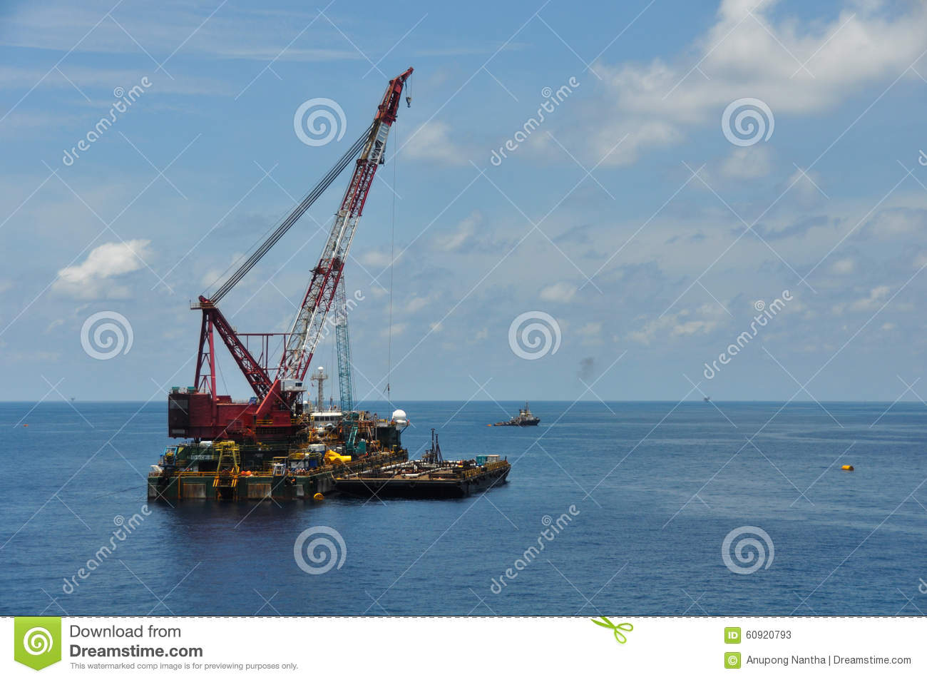 Crane Barge Lifting Heavy Cargo Or Heavy Lift In Offshore Oil And.