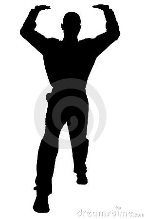 Silhouette With Clipping Path Of Man In Lifting Stance Royalty.