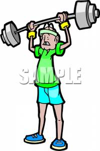 Older Man Lifting Weights.