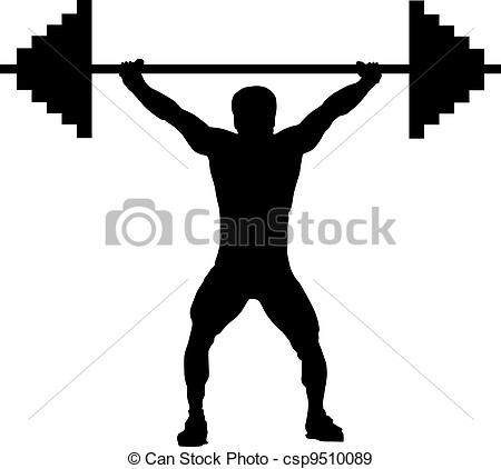 Vector Clip Art of Man lifting weight isolated over white.