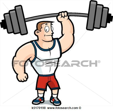 Skinny man lifting weights clipart.