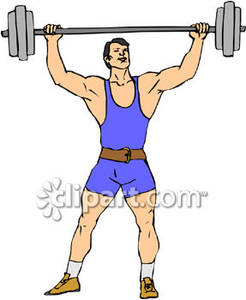 Man Lifting Weights Clipart.
