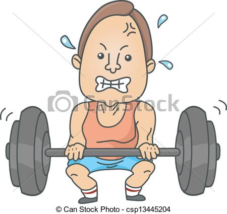 Vector Clipart of Man Weightlifting.