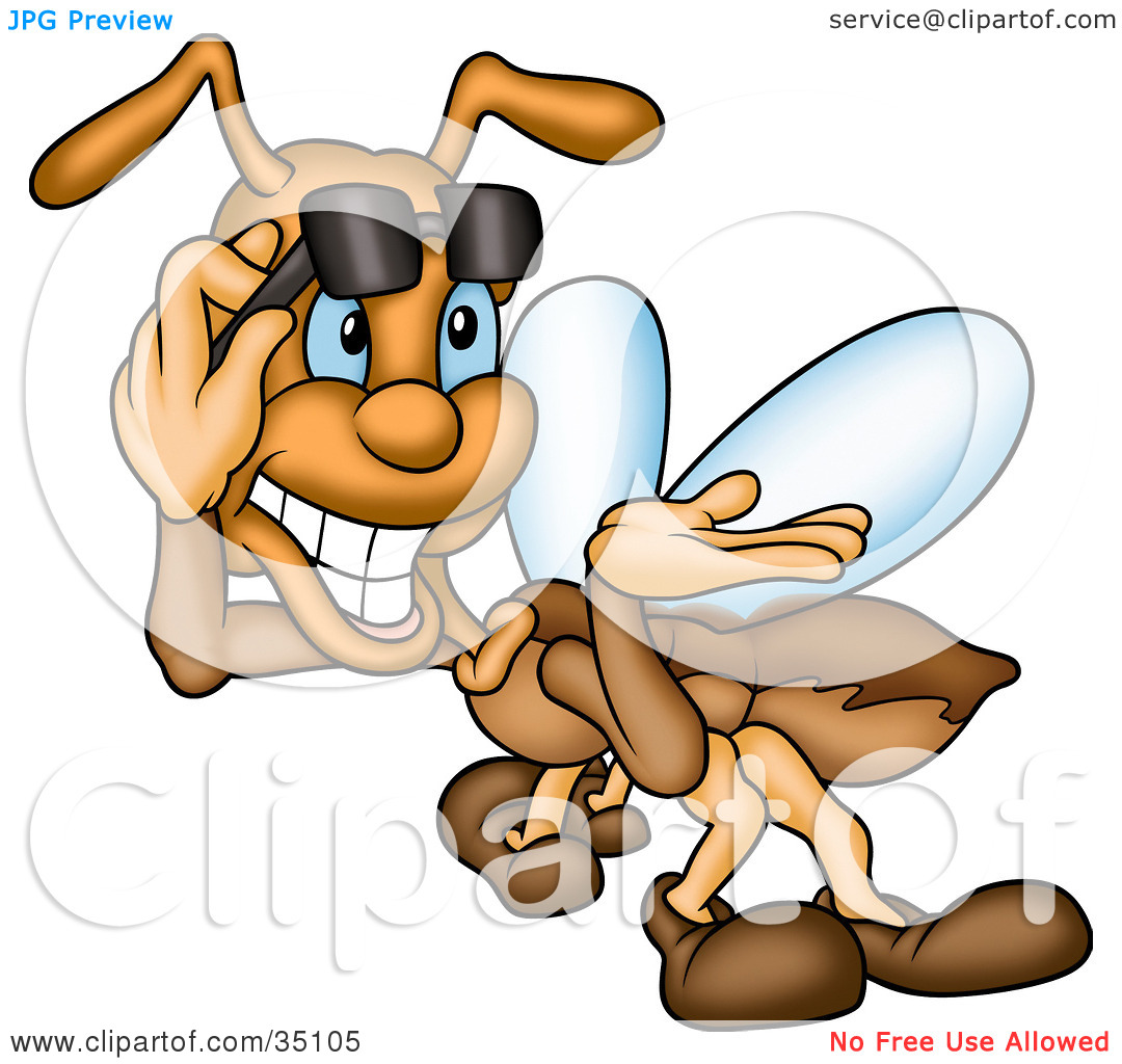 Clipart Illustration of a Confident Brown Fly Lifting Up His.