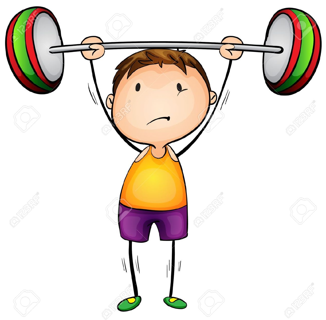 Cute girl lifting weights clipart.