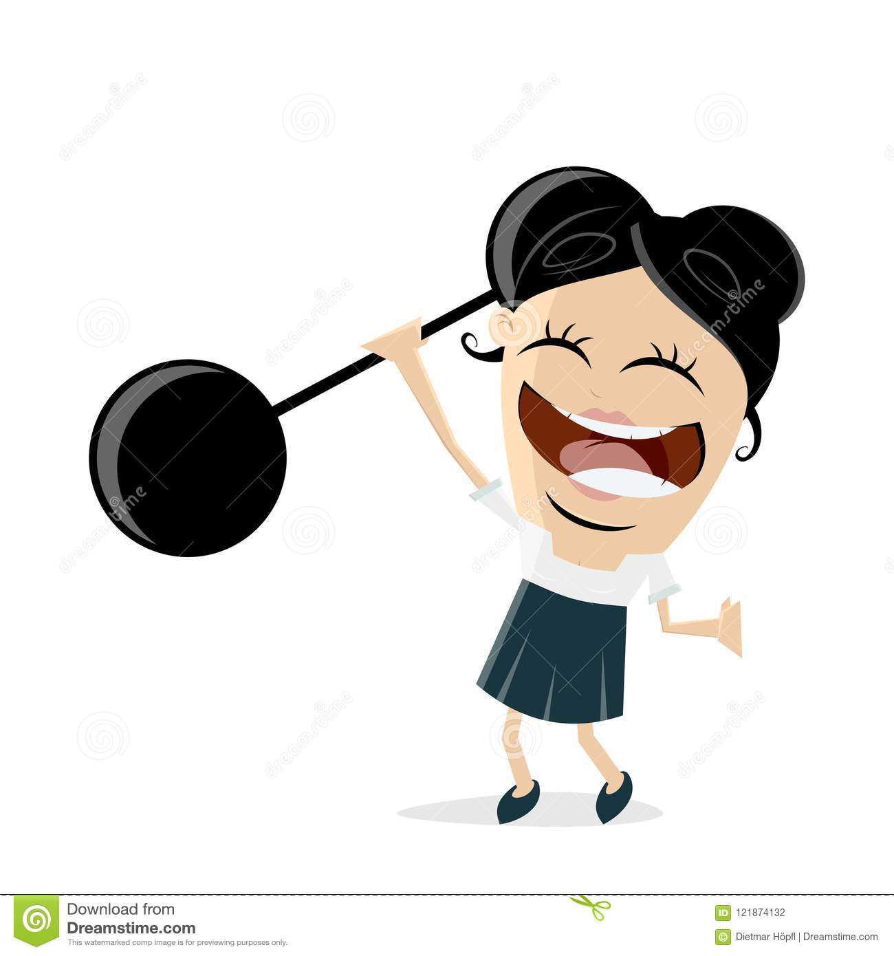 Funny Businesswoman Lifting Weights Stock Vector.