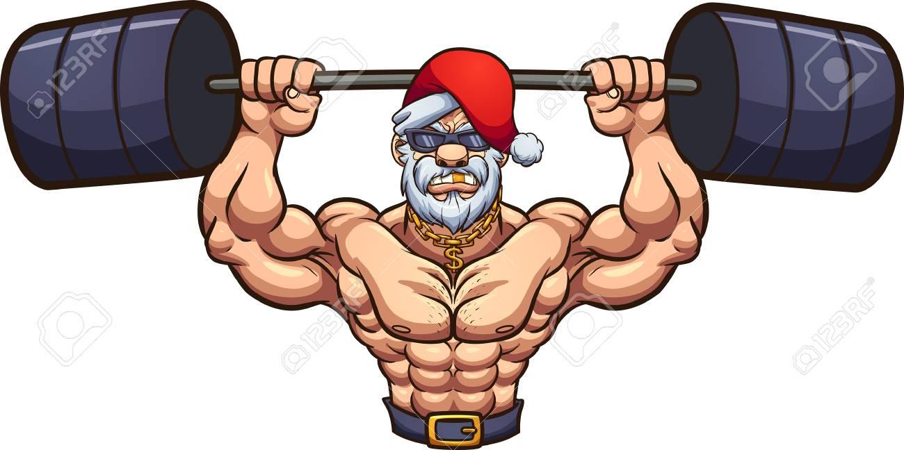 Strong Santa Claus lifting weights. Vector clip art illustration...