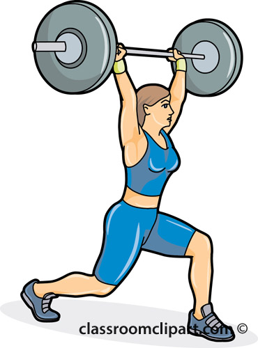 Woman Lifting Weights Clipart.