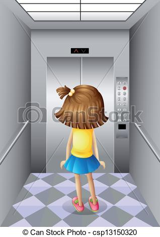 Vector Illustration of A little girl at the elevator.