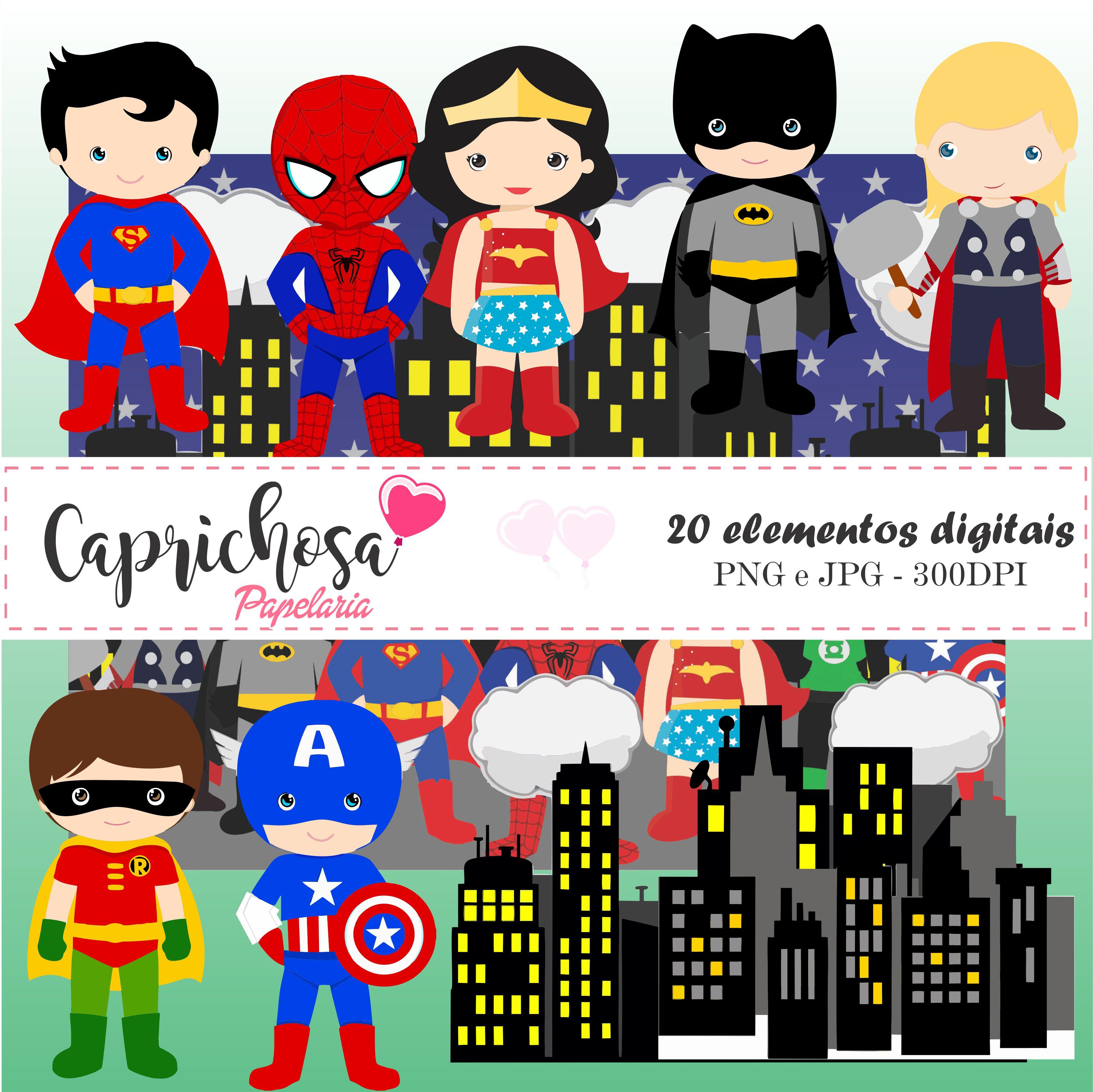 Kit digital Cliparts Liga da Justiça.