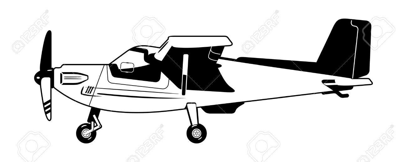 Black And White Illustration Of A Light Aircraft. Royalty Free.