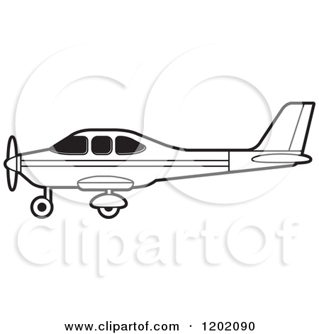 Clipart of a Small Black and White Outlined Airplane 9.