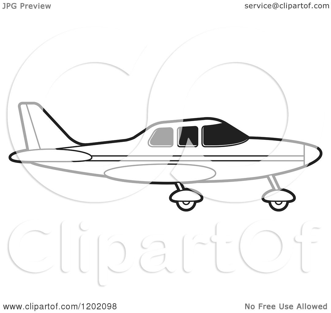 Clipart of a Small Black and White Outlined Airplane 12.