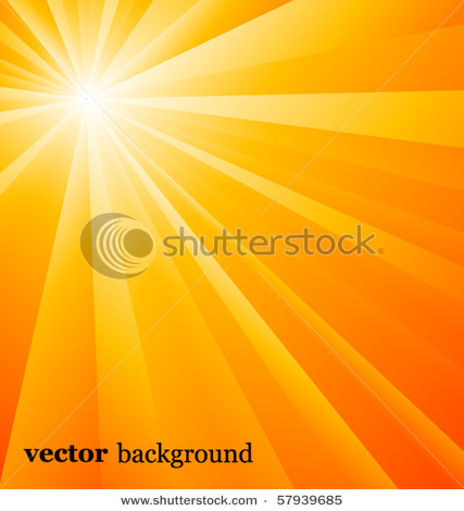 Sun Shining Its Warmth Via Beams of Light in a Vector Background.